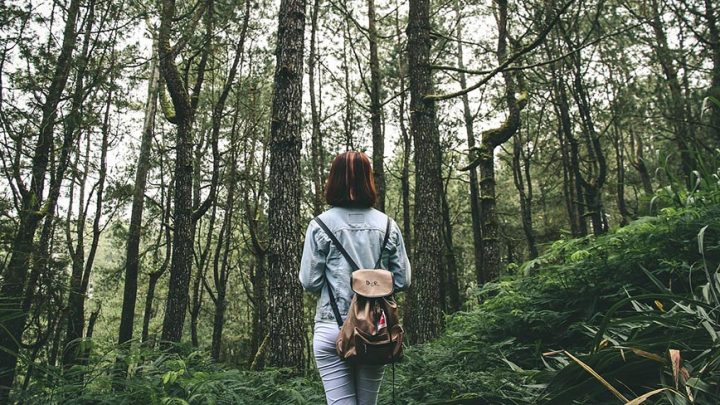 girl with backpack walking through forest