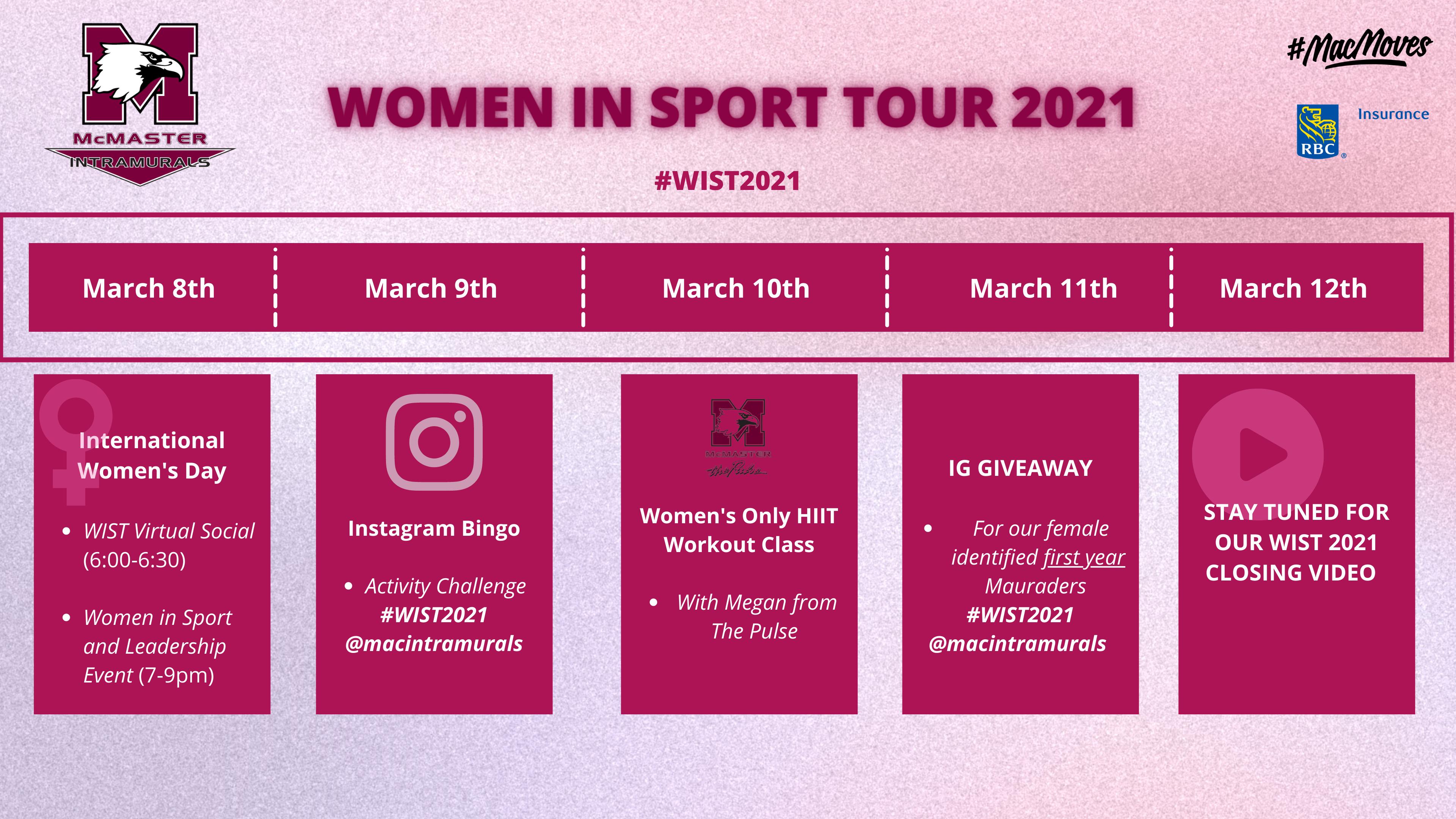 Women In Sport Tour 2021 calendar