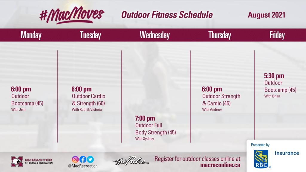 Aug 2021 - Outdoor Fitness Schedule